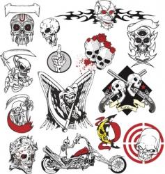 skull tattoo set vector image vector image