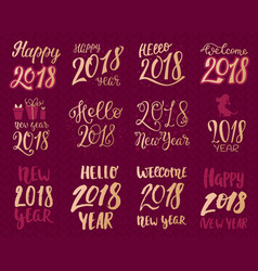 2018 happy new year gold text logo for holiday vector image vector image