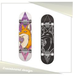 design skateboard fox vector image vector image
