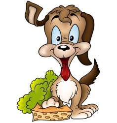dog and sponge vector image vector image