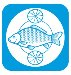 fish on a plate with lemons vector image vector image