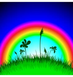 grass under rainbow vector image