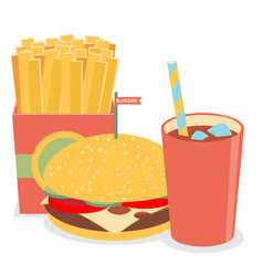 Lunch with french fries hot dog and soda takeaway vector