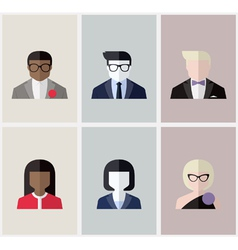 Modern flat avatars Male and female user icons vector image vector image