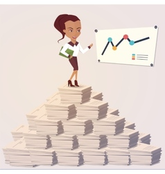 Office woman showing a graph Flat style vector image vector image