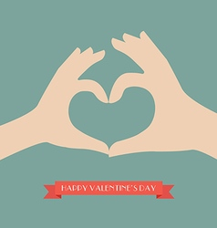 Woman and man hands making up heart shape vector image