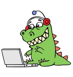 cartoon green dinosaur sitting at the silver vector image