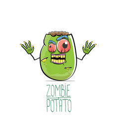 funny cartoon cute green zombie potato vector image vector image