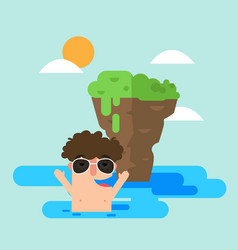 man swimming in the sea during summer vector image vector image