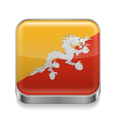 Metal icon of Bhutan vector image vector image