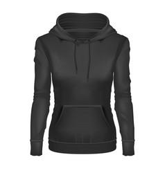 realistic black girl hoodie template mockup vector image