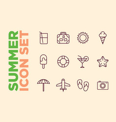 set summer beach icons cocktail icons sun ice vector image vector image