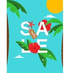 Summer Sale Card with palms and hibiscus flowers vector image
