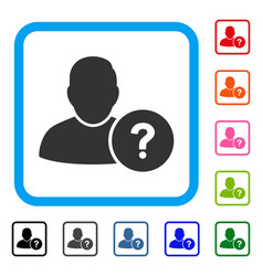 user question framed icon vector image vector image