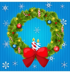 Abstract Christmas background with wreath vector image