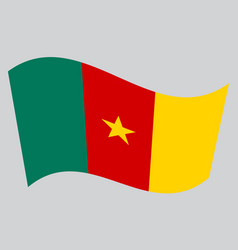 flag of cameroon waving on gray background vector image vector image