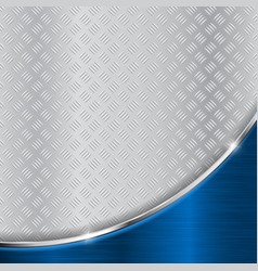 metallic surface with blue shiny curved element vector image vector image