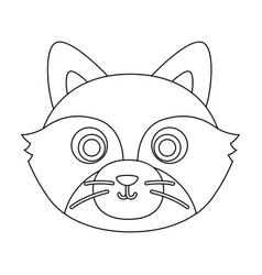 Raccoon muzzle icon in outline style isolated on vector
