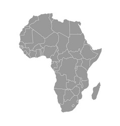 simple flat grey map of africa continent with vector image