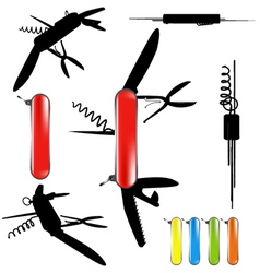 swiss army knife silhouette vector image
