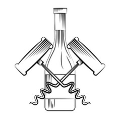 wine bottle and corkscrew vector image