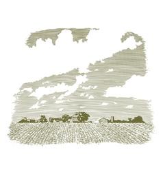 Woodcut Kansas Farm vector image