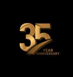 35 years gold elegant anniversary celebration vector