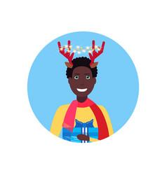 african american man deer horns face avatar new vector image