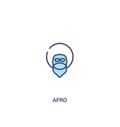 Afro concept 2 colored icon simple line element vector