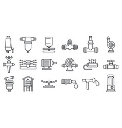 Agricultural irrigation system icon set outline vector