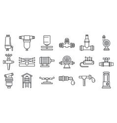agricultural irrigation system icon set outline vector image