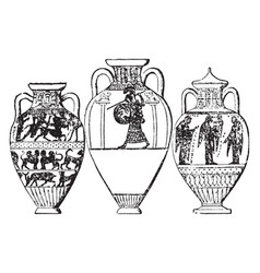 Amphora holds under a half-ton vintage engraving vector