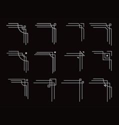 art deco corners set filigree geometric lines vector image