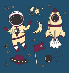 astronaut cartoon space set vector image vector image