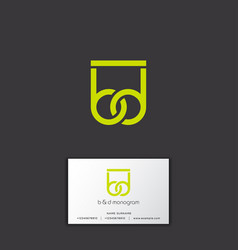 b and d green yellow monogram logo vector image