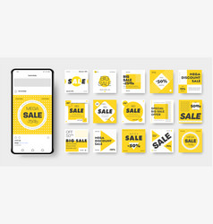 banner template with yellow black and white vector image
