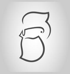 bearded man hipster style symbol icon vector image