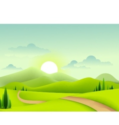 beauty green landscape of sunny morning vector image