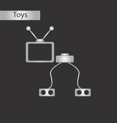 Black and white style toy tv game console vector