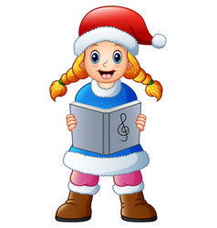 Blonde girl singing christm vector
