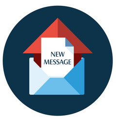 Blue flat icon open envelope and message object w vector