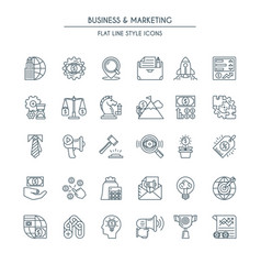 business and marketing thin line icons vector image