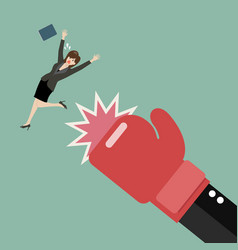 business woman punched by her boss big hand vector image