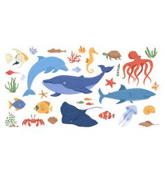 cartoon sea ocean animals corals and seaweeds vector image