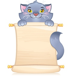 Cat with scroll vector image