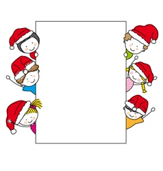 children dressed as santa claus vector image