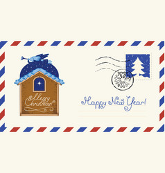 Christmas envelope with angel and star vector