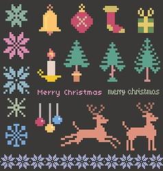 Christmas winter pixels vector