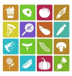 Colorful food and vegetable icon set vector