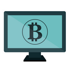 Computer desktop with bitcoin symbol vector